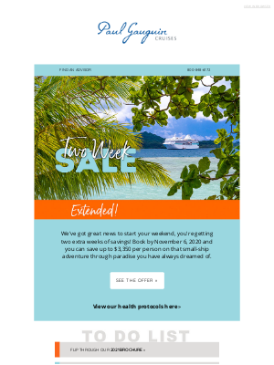 Paul Gauguin Cruises - Two-Week Sale: We're Giving You Extra Time for Savings!