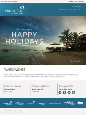 Outrigger Hotels - Warm Wishes this Holiday Season