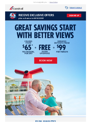 Carnival Cruise Line - 😃 Smile! We're Alerting You with Early Booking Perks