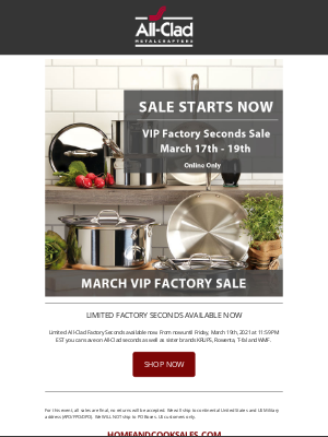 All-Clad Metalcrafters - Get a head start on Factory Seconds!