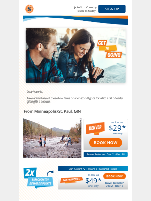 Sun Country Airlines - Score nonstop flights as low as $29* one-way. Get To Going.