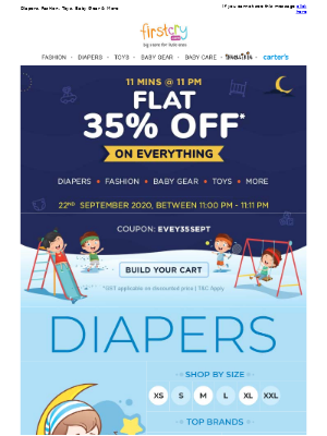 FirstCry (India) - Buy Anything & Get Flat 35% OFF @ 11 PM for 11 Mins
