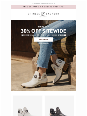 Chinese Laundry - Final Day: Take 30% Off Sitewide