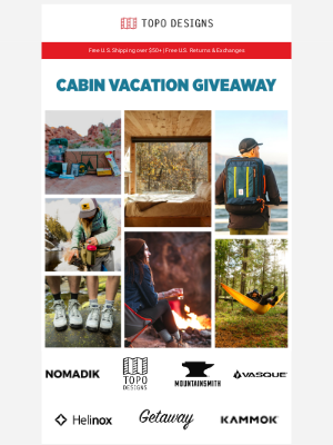 Topo Designs - Cabin Vacation Giveaway