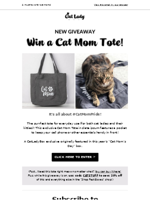 😻GIVEAWAY: Win a Cat Mom Tote!