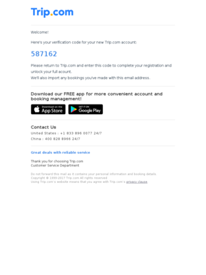 Trip Network - [587162] is your Trip.com Account Verification Code