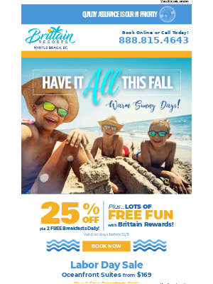 Brittain Resorts & Hotels - Take a vacation that includes 2 Free Breakfasts Daily and 25% Off your stay!