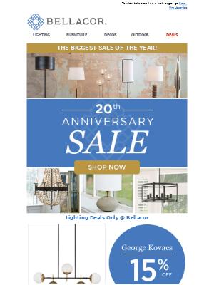 Bellacor - We've Gone Platinum! 20th Anniversary Sale