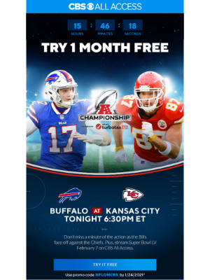 CBS - Last chance for your exclusive offer in time to stream the AFC Championship!