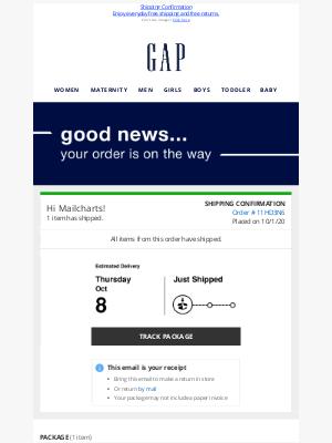 Gap - Shipped: Order 11HD3N6 from Gap
