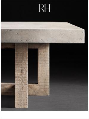 Restoration Hardware - A Study in Concrete & Reclaimed Pine. Heston by Thomas Bina.