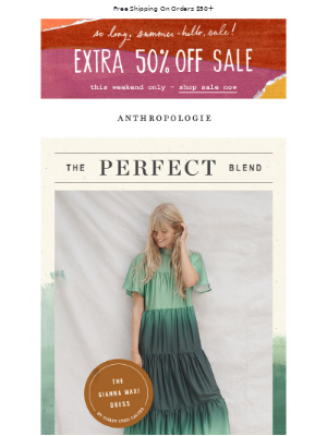 Anthropologie - Top Tier Sale: Extra 50% OFF.