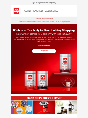illy - Start Shopping Early for the Holidays | 25% Off Sitewide