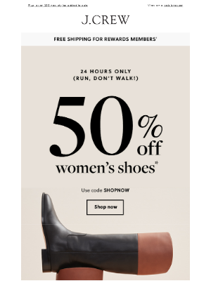 J.Crew Factory - Today only: 50% off women's shoes