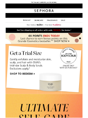 FREE ✨ 1 trial-size scrub, 2 *Ouai*s—yours with $25 product purchase.