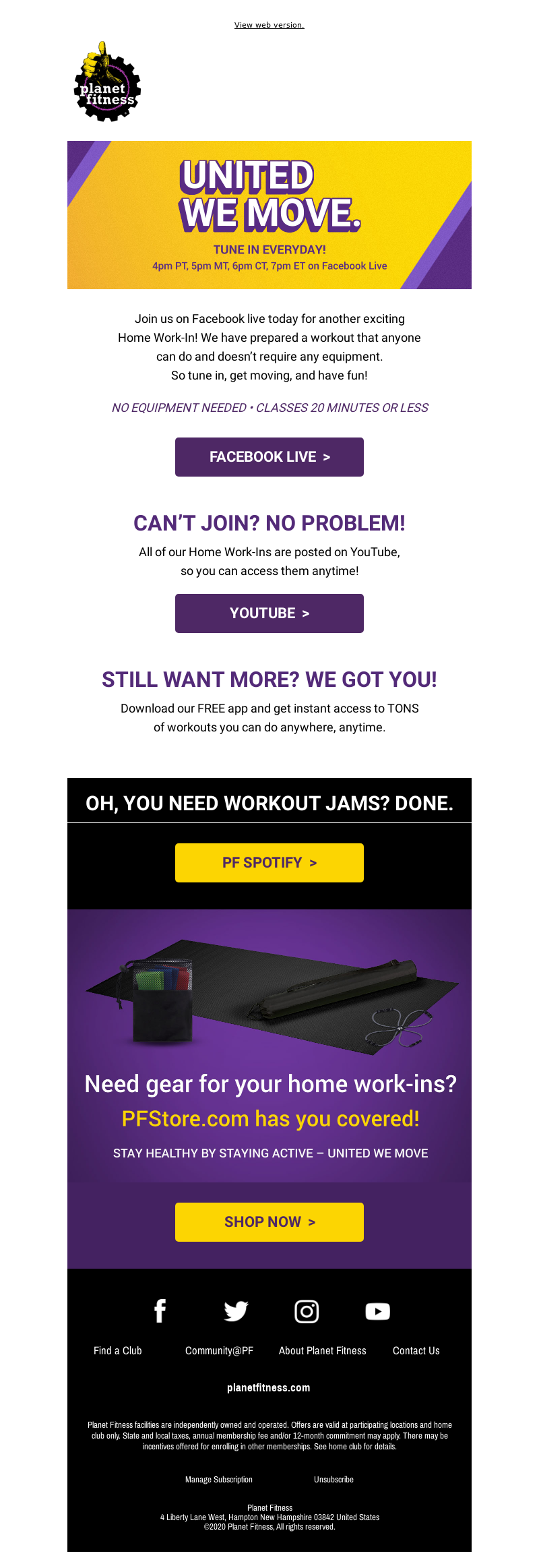 Planet Fitness - United We Move! Join a new Home Work-In today.