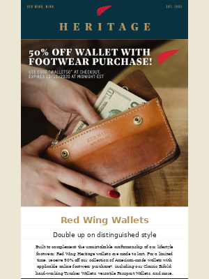 Red Wing Heritage - For a limited time – 50% off Heritage wallets