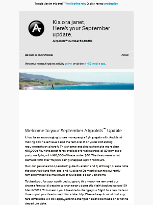 Air New Zealand - janet, your September Airpoints Update