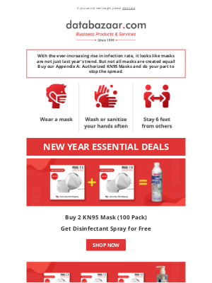 Databazaar - Free PPE With KN95 Masks | New Year Deals
