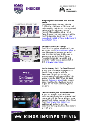 Sacramento Kings - Hey joan, Grab Your Kings Tickets + See Who's Being Honored this Weekend