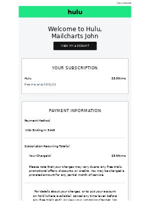 Hello Mailcharts John, Welcome to Hulu!