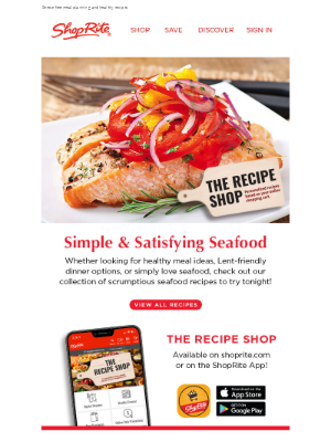 ShopRite Stores - Lent-friendly seafood dishes from The Recipe Shop