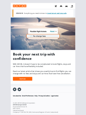KAYAK (UK) - Here's how to find travel options you can change or cancel