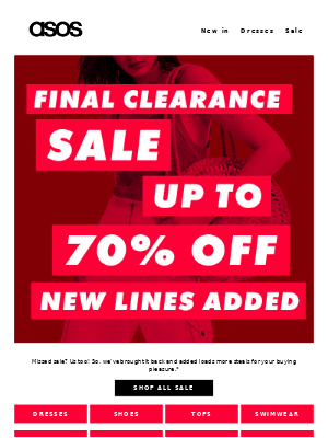 Up to 70% off final clearance is here