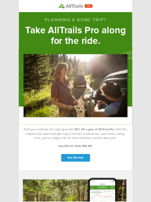 AllTrails - Turn pit-stops into adventures with 30% off AllTrails Pro 🚘⛰️