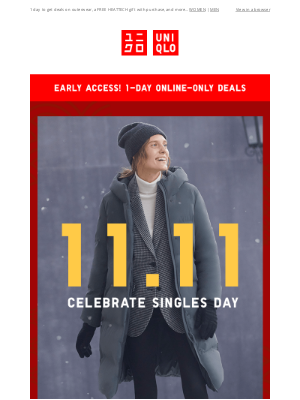 UNIQLO - EARLY ACCESS! 11.11 deals start NOW