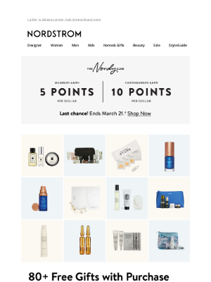 Nordstrom - 80+ free gifts with purchase—up to $252 value!