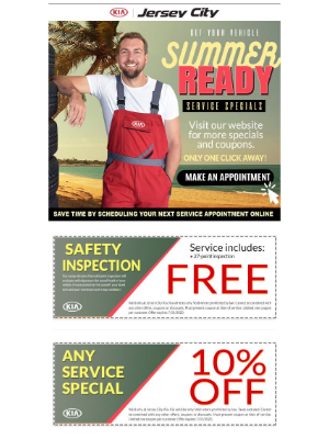 😎Jersey City Kia for Fast, Quality and Convenient Maintenance service completed in 60 minutes or less! 🚨 Summer Service Specials ‼