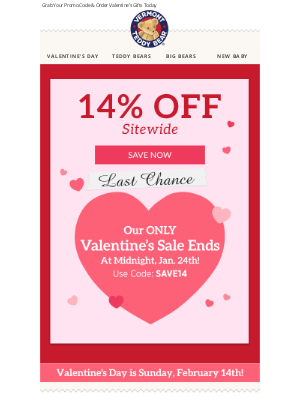 Vermont Teddy Bear - Sitewide SALE Ends At Midnight! ⏰ 💕 Last Chance -- Think Romance!