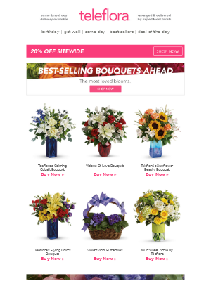 💐20% Off Best-Sellers from Teleflora!