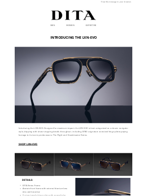 DITA Eyewear - The LXN-EVO has arrived - Have it for the Holidays