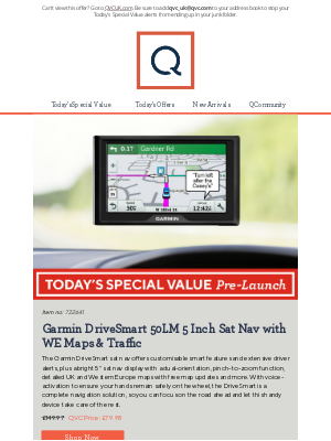 QVC (UK) - See Today's Special Value Pre-Launch: Garmin DriveSmart 50LM 5 Inch Sat Nav with WE Maps & Traffic