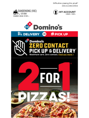 Domino's Pizza Enterprises (AU) - 😍 You'll Want A Slice Of This 👉 Buy 1 Large Pizza* & Get 1 Free*
