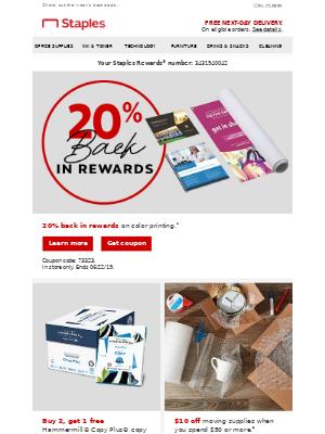 20% BACK. Print more, earn more!