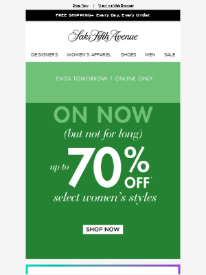 Up to 70% off is on (but not for long)