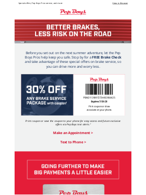Pep Boys - ☀️ Save on summer brake service