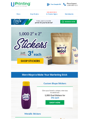 UPrinting - frank, Create Branded Stickers | From 3¢ Each