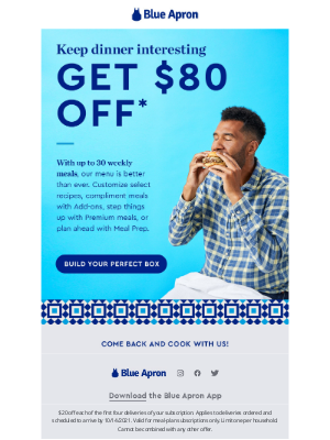 Blue Apron - So. Many. Options. Get $80 off!