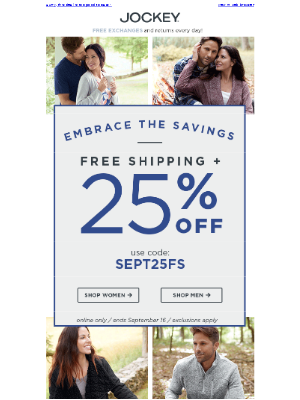 Jockey - Last day to save 25% on everything (+ Free Shipping!)