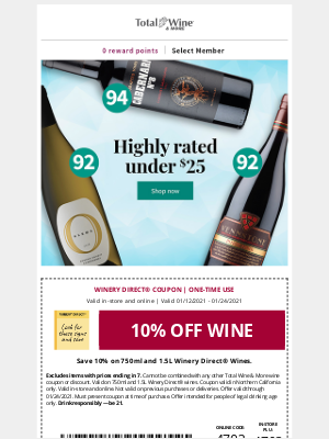 Total Wine & More - Coupon + Highly-rated Wines Under $25