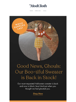 ModCloth - Our ghastly, ghostly sweater is BACK! 👻