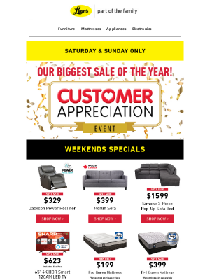 Leon's (CA) - Our Biggest Sale of the Year 🙌 Customer Appreciation Event