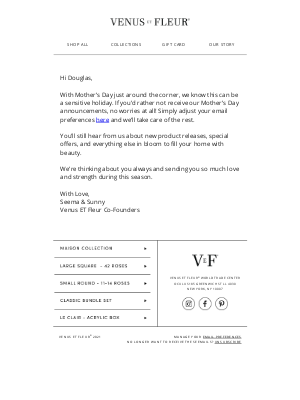 VenusETFleur - Would you like to receive Mother's Day emails?