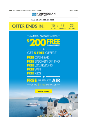 Last Chance: Get $200 Onboard Credit + FREE Or Reduced Air & More.