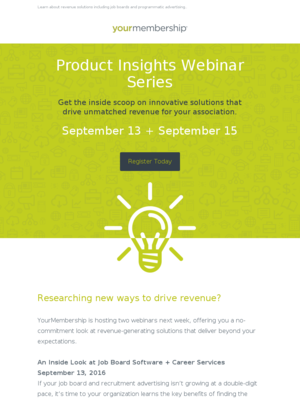 Don't miss these webinars tomorrow + Thursday: Inside Look at YM's Revenue Solutions