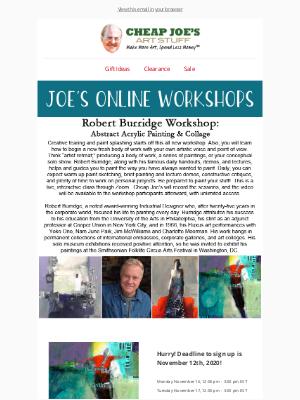 Cheap Joe's Art Stuff - Register Now for a Virtual Workshop with Robert Burridge!